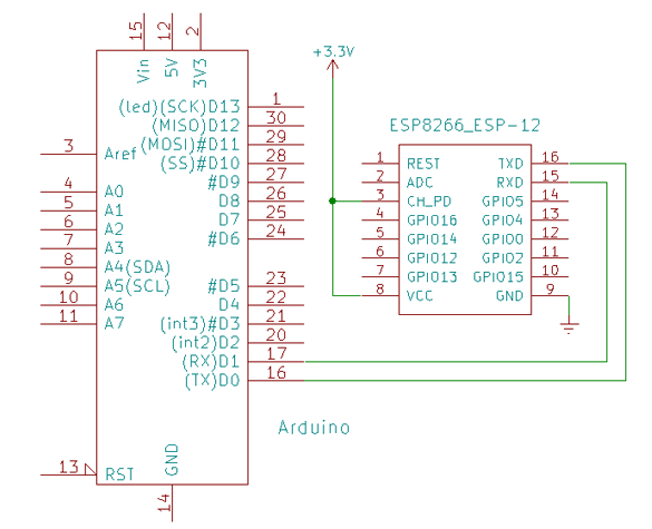ESP8266 connections needed to communicate with an arduino