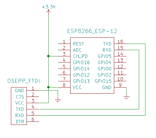 ESP8266 connections needed to communicate with an FTDI device