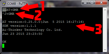 ESP8266 sending a serial AT command to check the firmware version with PuTTY