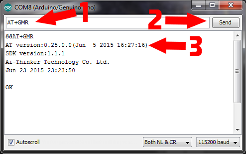 Sending a serial AT command to check the firmware version