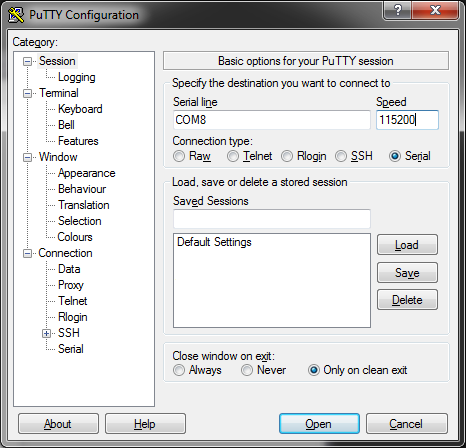 PuTTY COM port serial monitor