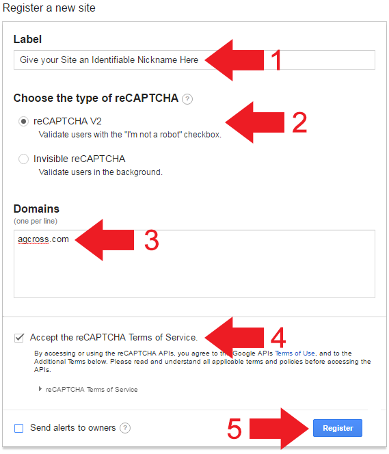 Register A New Site With reCAPTCHA V2